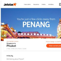 [Jetstar] Phuket is only a few clicks away, Bq Sg!