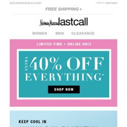 [Last Call] From us: cool Neiman Marcus shoes; for you: a cool 40% off