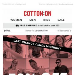 [Cotton On] 30% OFF ⚡ENDS TODAY ⚡