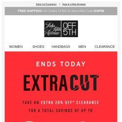 [Saks OFF 5th] Last Day: Save up to 85% off clearance (that's a lot) + Limited-quantity Free People styles!