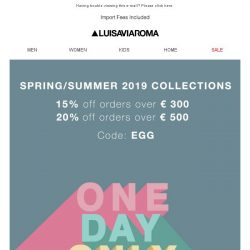 [LUISAVIAROMA] 1 Day Only: Up to 20% off!