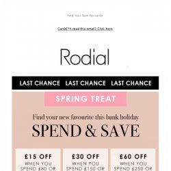 [RODIAL] Have You Heard? Save Up To £60 Off