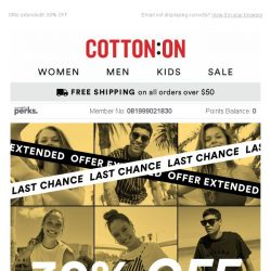 [Cotton On] Final hours ! 30% off 1000s of styles 👉