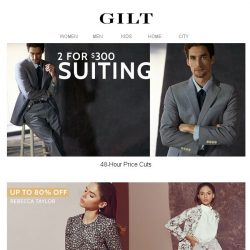 [Gilt] 2 for $300 Suiting. You have 48 hours.