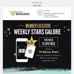 [Starbucks] Receive 10 Bonus Stars when you reload min. $50 into your Starbucks Card ⭐