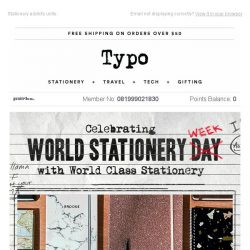 [typo] Celebrate World Stationery Week with 25% off when you spend $40!