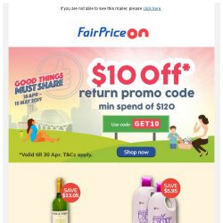 [Fairprice] Greater savings with $10 OFF!