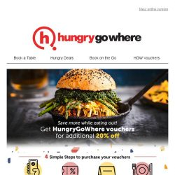 [HungryGoWhere] Additional 20% off while dining at your favourite restaurants - Get HungryGoWhere Vouchers now