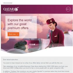 [Qatar] It has been a while. Experience a journey like never before. Premium fares start from SGD 3,249pp.
