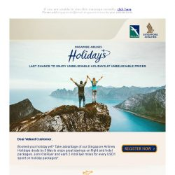 [Singapore Airlines] Last chance to enjoy incredible flight and hotel packages