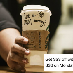 Starbucks: Get S$3 OFF with Min. Spend of S$6 on Mondays with Standard Chartered Cards!