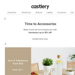 [Castlery] Jars, Baskets, Lamps, Rugs..up to 15% off!