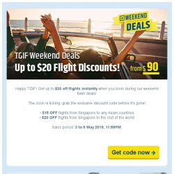 [cheaptickets.sg] TGIF Weekend Deal  Extra $20 discount instantly!