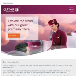 [Qatar] Do not miss out - experience a journey like never before. Premium fares start from SGD 3,249pp.