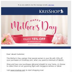 [Singapore Airlines] Enjoy 15% off on KrisShop.com this Mother's Day