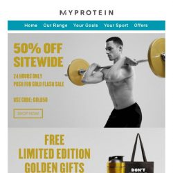 [MyProtein] 50% Off Extended Until Tonight Only!
