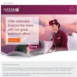 [Qatar] 6 more days - Experience a journey like never before. Premium fares start from SGD 3,249pp.