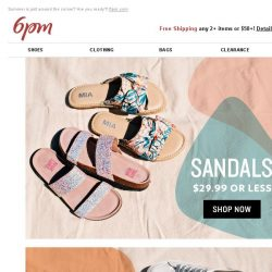[6pm] $29.99 or Less Sandals & Sneakers + More Deals!