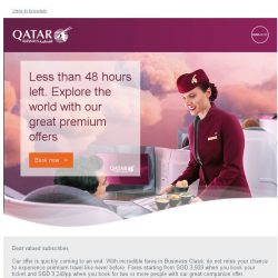 [Qatar] Less than 48 hours left. Explore the world with our great premium fares