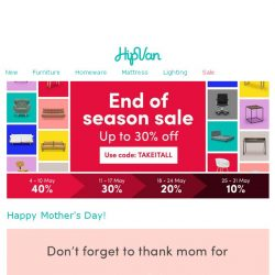 [HipVan] Happy Mother's Day!Find the perfect gift for your Mom!