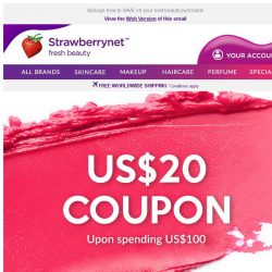 [StrawberryNet] Get US$20 Coupon upon spending US$100!