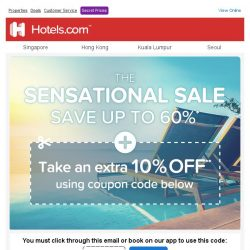 [Hotels.com] ☀️ Extra 10% off: Claim your coupon NOW