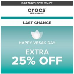 [Crocs Singapore] 【ENDS TODAY】 Don't miss out – Extra 25% OFF!