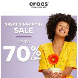 [Crocs Singapore] 【UP TO 70% OFF】 Celebrate ⭐Great Singapore Sale⭐ with Crocs now!