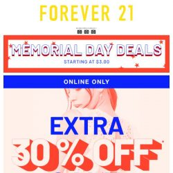 [FOREVER 21] EARLY ACCESS: Extra 30% off Sale