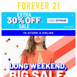 [FOREVER 21] REMINDER: Sale continues!