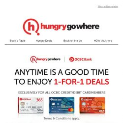 [HungryGoWhere] Savour your favourite small bites or side dish with OCBC 1-for-1 Dining Deals - More than 60 dining options available