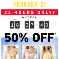 [FOREVER 21] 24HRS ONLY: TAKE 50% OFF