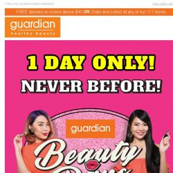 [Guardian]  It's not over ladies.. 40% off ALL Beauty Cosmetics!
