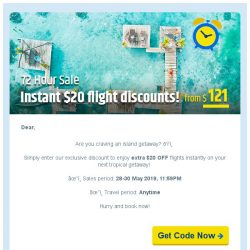 [cheaptickets.sg]  72 HOURS SALE ► Get extra $20 instant flight discount!
