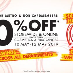 Metro: Great Singapore Sale with 20% OFF Storewide & Online Including Cosmetics & Fragrances for Metro & UOB Cardmembers