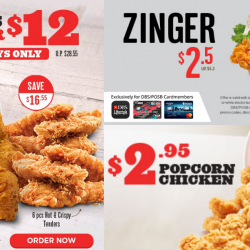 KFC: 12 pieces for $12, $2.50 Zinger Burger & $2.95 Popcorn Chicken!