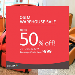 OSIM: Warehouse Sale 2019 with Up to 50% OFF Massage Chairs and More!
