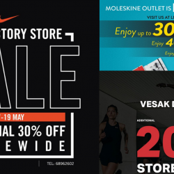 IMM: Vesak Day Sale - Additional Up to 50% OFF at Nike, Under Armour & Moleskine Outlets!