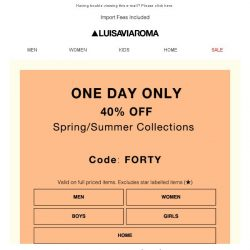 [LUISAVIAROMA] 1 Day Only: 40% off Spring/Summer Collections