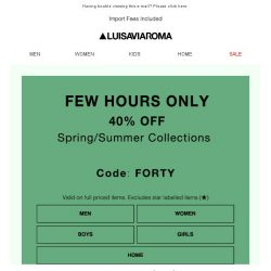 [LUISAVIAROMA] Few Hours Only: 40% off!