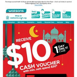 [Watsons]  Fuel up this holiday with $10 Cash Voucher! #shoppingfuel!