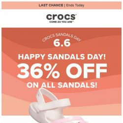 [Crocs Singapore] ☀️Happy Sandals Day☀️ Hurry! 36% off + Extra $5 off!
