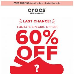 [Crocs Singapore] 【LAST CHANCE】 Today's special offer 60% off!