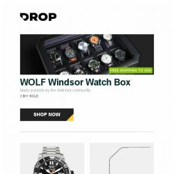 [Massdrop] WOLF Windsor Watch Box, Audaz Reef Diver Automatic Watch, Daylight Slimline 3 LED Floor Lamp and more...