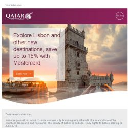 [Qatar] Explore Lisbon and our new destinations, save up to 15% with Mastercard