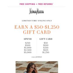 [Neiman Marcus] Final day! $50-$1,250 gift card
