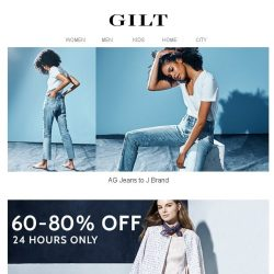 [Gilt] AG Jeans to J Brand | 60 – 80% Off Designer Steals for 24 Hours Only