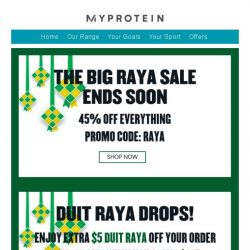[MyProtein] The Big Raya Sale Ends Today!
