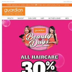 [Guardian]  1 DAY ONLY Online Extension for 30% off ALL Haircare!