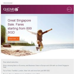 [Qatar] Great Singapore Sale. Fares starting from 899 SGD.